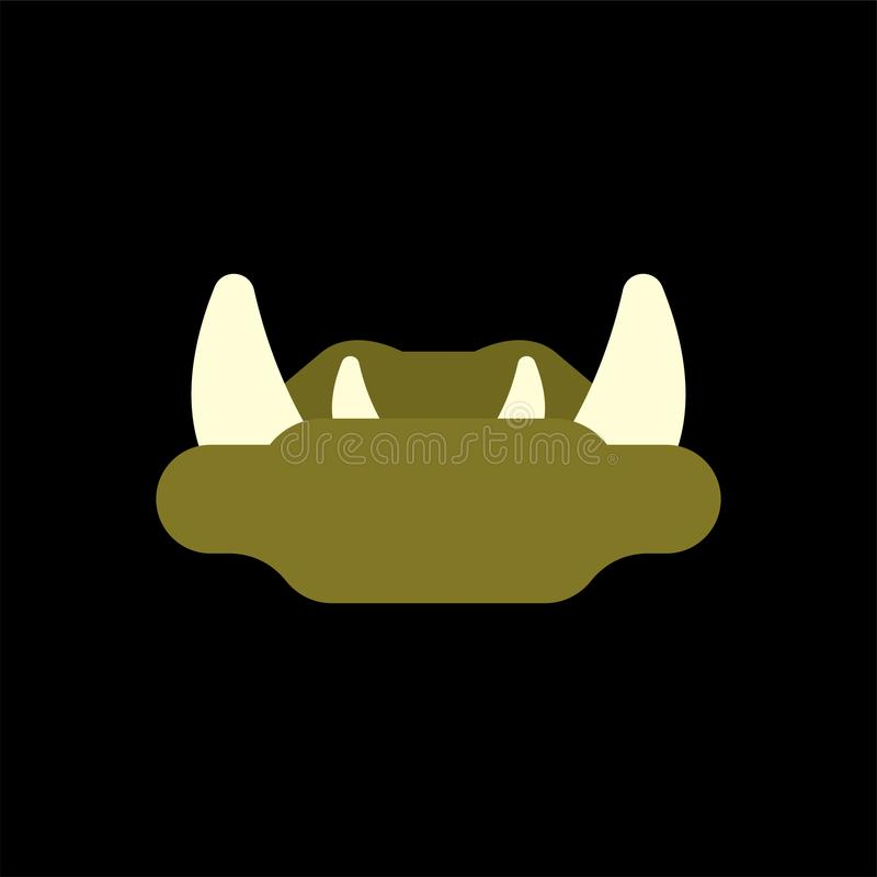 Ogre Lips with fangs isolated. Green goblin Mouth royalty free illustration