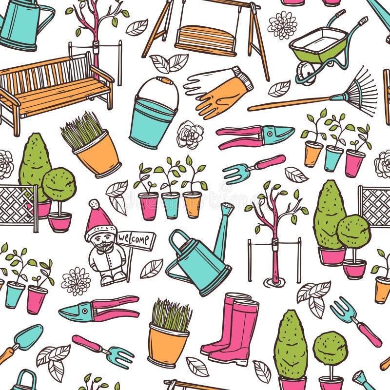 ogrodnictwa ilustraci wzoru bezszwowa wiosna wektoru praca ilustracji