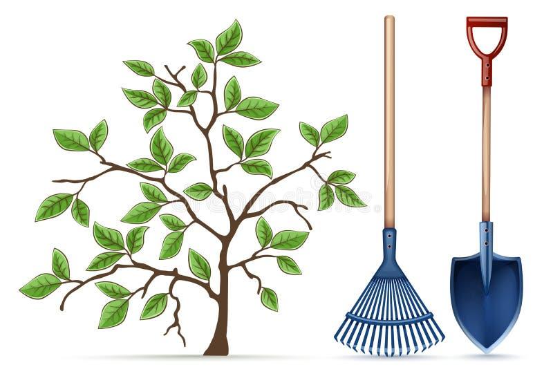Ogrodnictwa wyposażenia narzędzia Łopata, świntuch i wiosna, r?wnie? zwr?ci? corel ilustracji wektora royalty ilustracja