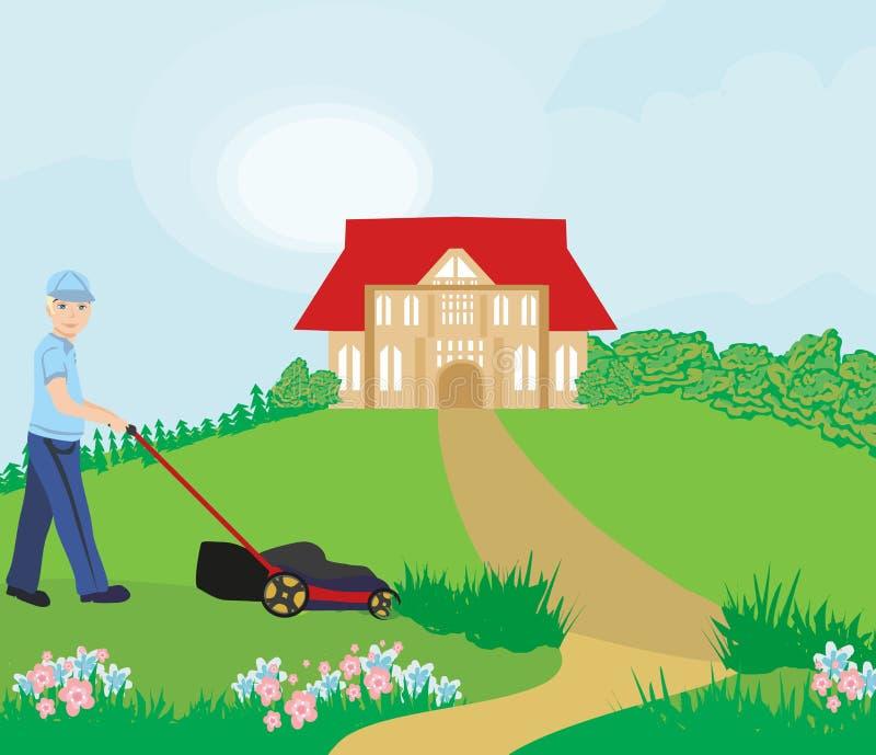 ogrodnictwo gazonu mężczyzna kośba royalty ilustracja