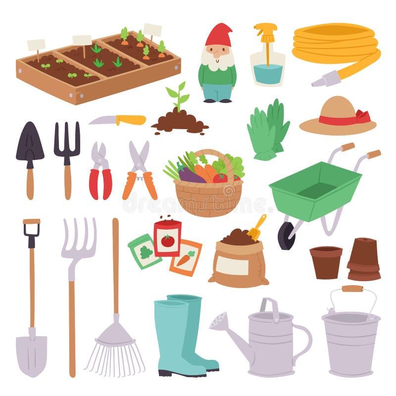 Ogrodnictwo ikony rolnictwa projekta wiosny natury środowiska ekologii narzędzia ogródu wektoru ustalona ilustracja royalty ilustracja