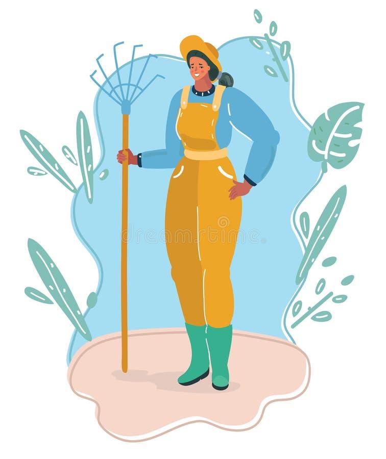 Ogrodnictwo kobieta w ogr?dzie ilustracja wektor