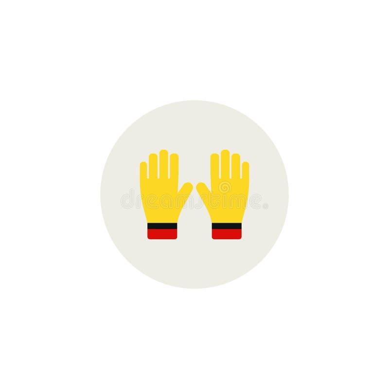 Ogrodnictwo płaskie żółte rękawiczki dla pracy odizolowywającej na białej tło wektoru ilustraci Uprawiać ziemię ręki ochronę, ręk ilustracji