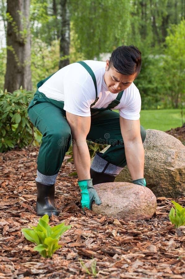Ogrodniczka podnosi kamień fotografia royalty free
