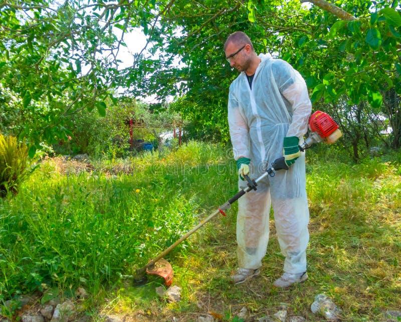 Ogrodniczka używa szczotkarskiego krajacza obrazy stock