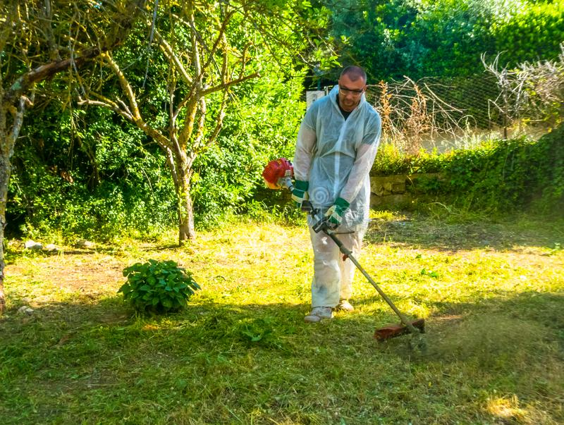 Ogrodniczka używa szczotkarskiego krajacza obrazy royalty free