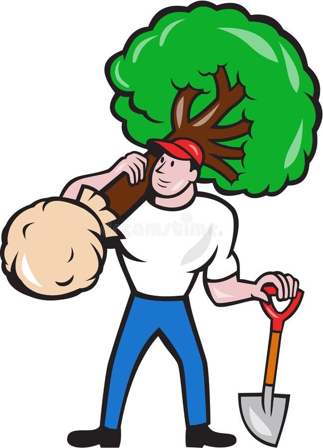 Ogrodniczki Arborist przewożenia drzewa kreskówka ilustracja wektor