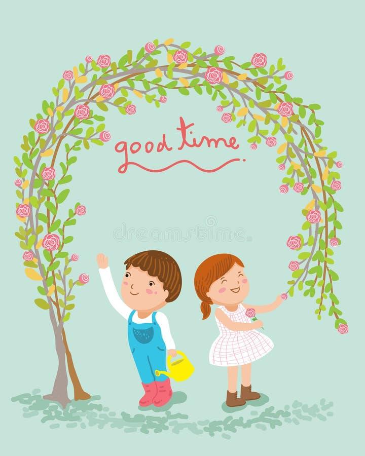 Ogrodniczki dziewczyna i chłopiec dobrą czasu wektoru ilustrację ilustracja wektor