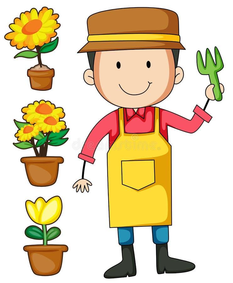 Ogrodniczki i kwiatu garnek royalty ilustracja
