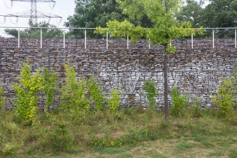 Ogrodowa ściana z łąką fotografia stock