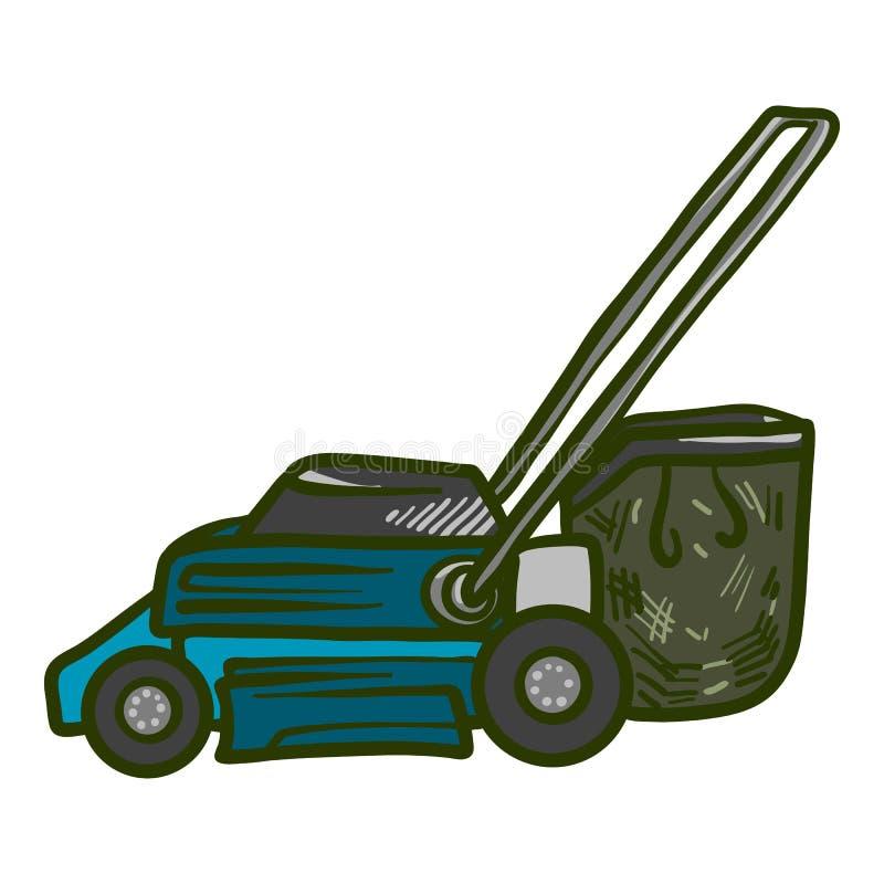 Ogrodowa gazonu kosiarza ikona, ręka rysujący styl ilustracja wektor