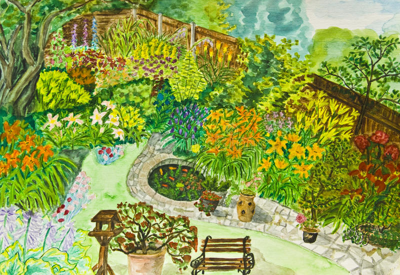 ogrodowa ręka malujący obrazek royalty ilustracja