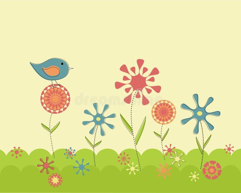 ogrodowa retro wiosna ilustracji