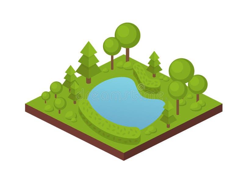 Ogrodowa rolna ziemia z drzewami, rośliny, intymny staw z wodą royalty ilustracja