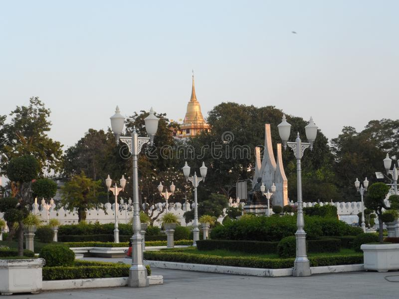 Ogrodowe parkowe fotografie w Bangkok, Tajlandia Tam są wiele ciekawi miejscami Tajlandzkimi i cudzoziemskimi turystami Przychodz obrazy stock