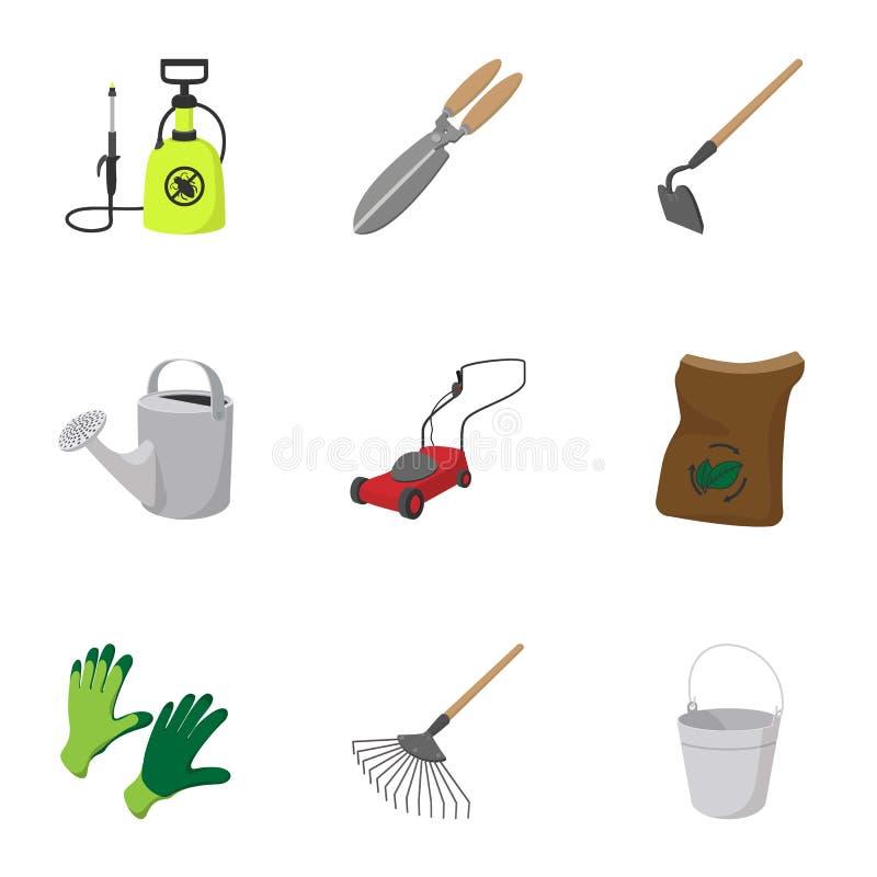 Ogrodowe rzeczy ikony ustawiać, kreskówka styl ilustracji