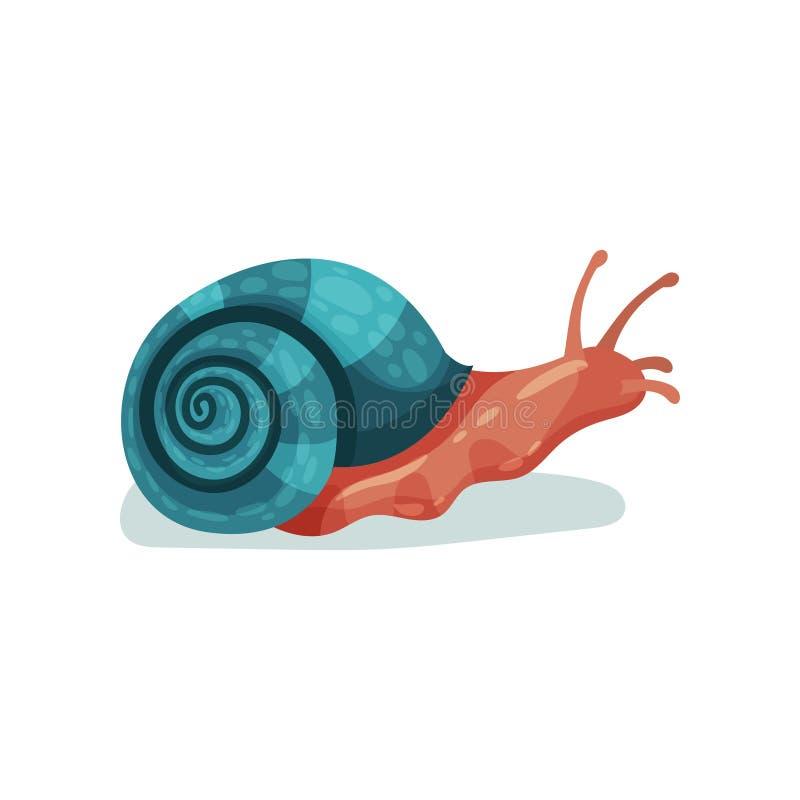 Ogrodowego ślimaczka gastropod mollusk wektorowa ilustracja na białym tle ilustracji