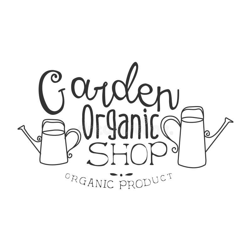 Ogrodowego Organicznie Naturalnego produktu sklepu Promo znaka projekta Czarny I Biały szablon Z Kaligraficznym tekstem royalty ilustracja