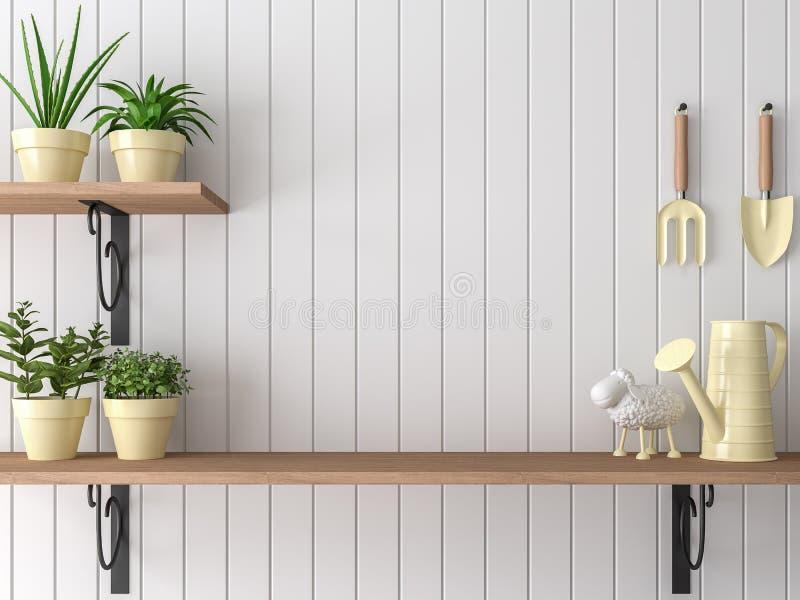 Ogrodowego wyposażenia drewniana półka 3d odpłaca się ilustracja wektor