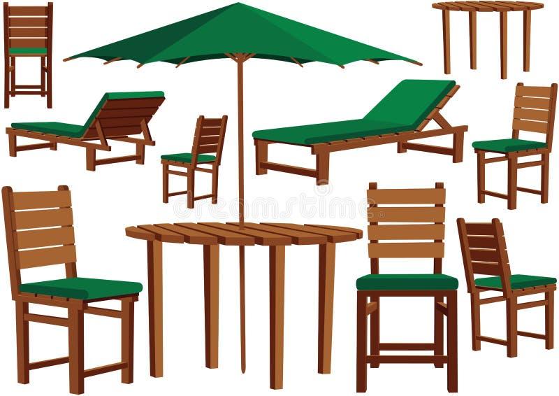 Ogrodowi meble i słońca loungers ilustracji