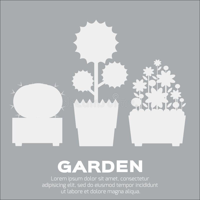 Ogrodowi sylwetka elementy ilustracja wektor