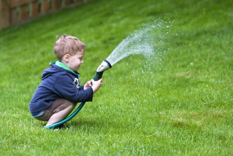 ogrodowy chłopiec podlewanie zdjęcie royalty free