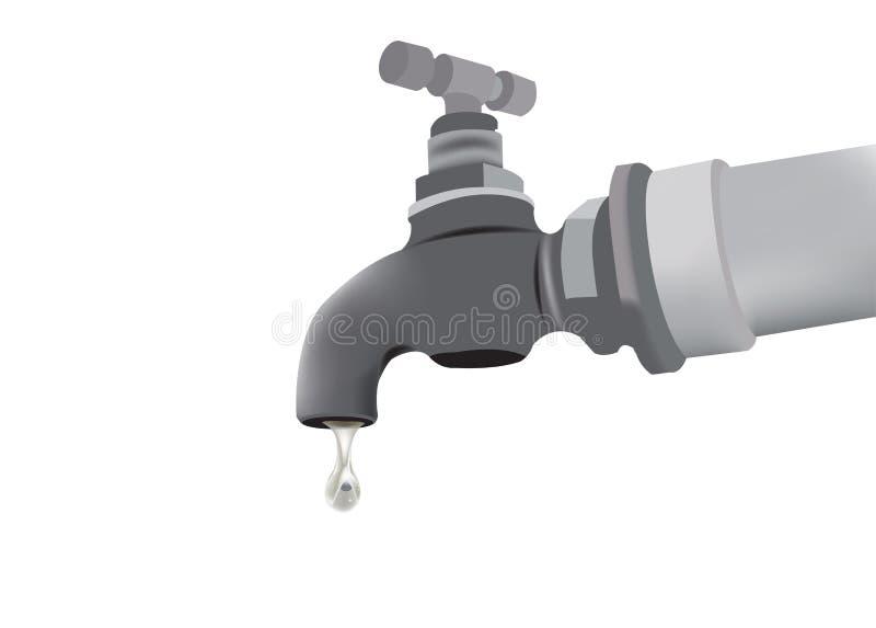 Ogrodowy faucet z kroplą woda ilustracja wektor