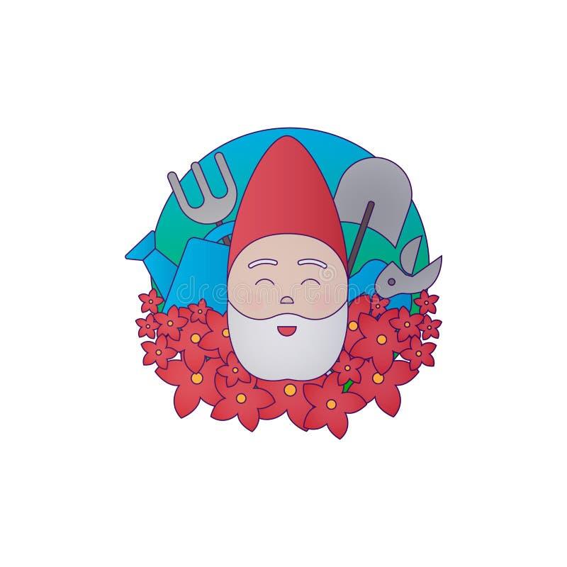 Ogrodowy kolorowy logotyp przygotowywa ikonę ilustracja karzeł ilustracji
