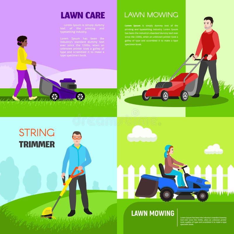 Ogrodowy lawnmower sztandaru set, mieszkanie styl ilustracja wektor