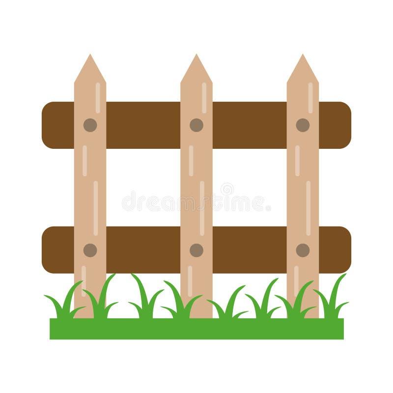 Ogrodowy ogrodzenie z trawą ilustracji