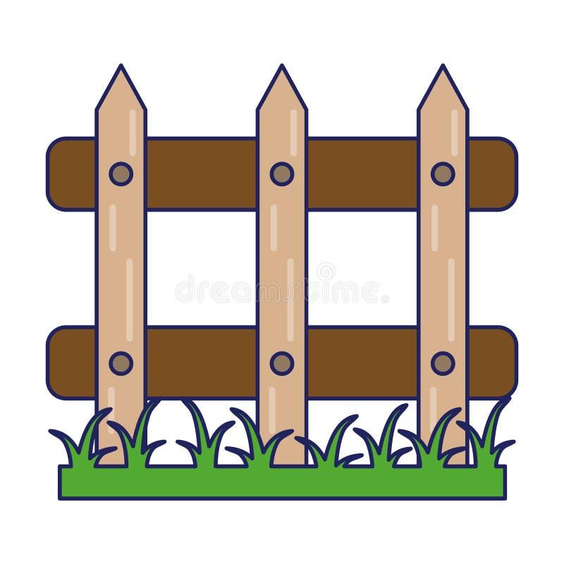 Ogrodowy ogrodzenie z traw niebieskimi liniami ilustracji