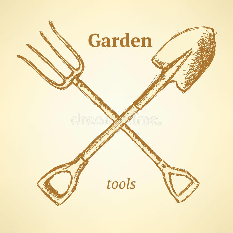 Ogrodowy rozwidlenie i łopata, tło w nakreślenie stylu ilustracja wektor