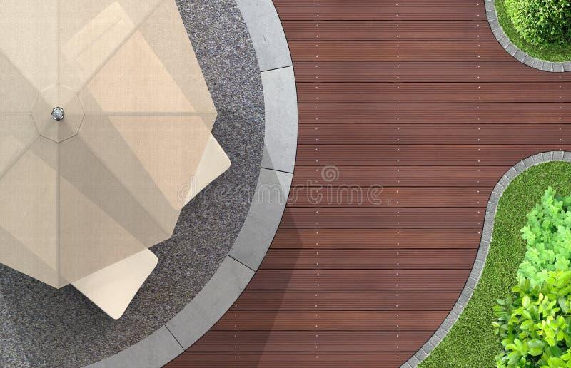 Ogrodowy szczegół z sunshade i deckchairs zdjęcia stock