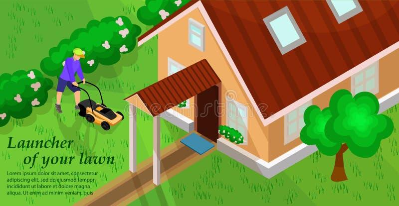Ogrodowy wyposażenie Gazonu kosiarza pojęcie wektor royalty ilustracja