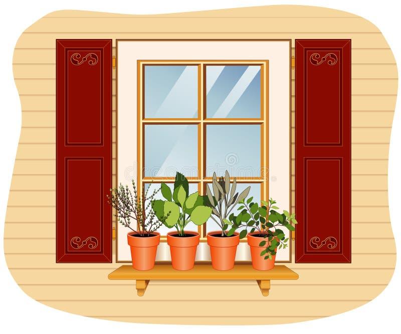 ogrodowy zielarski windowsill ilustracji