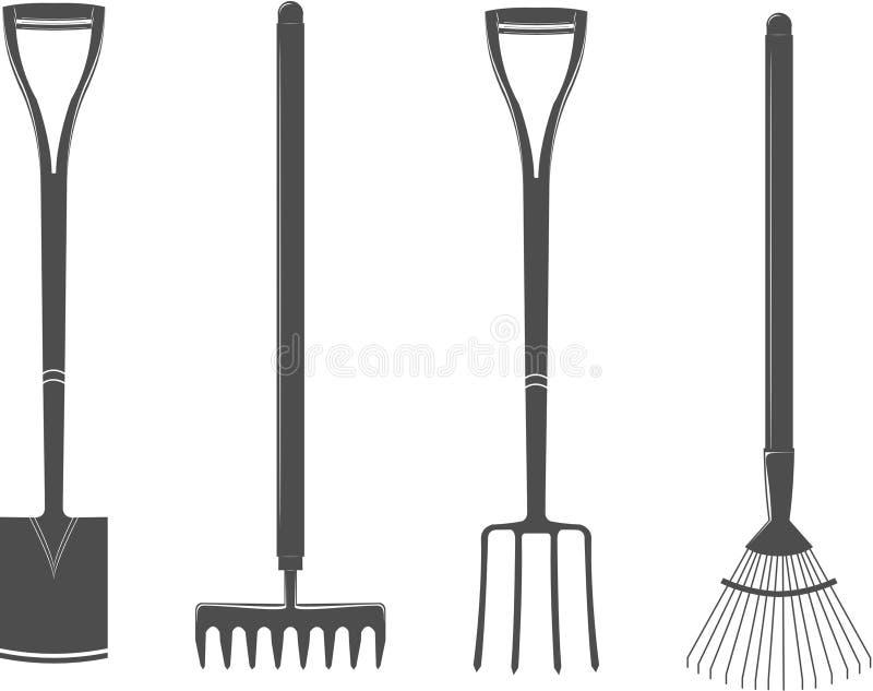 Ogrodowych narzędzi wybór ustalony s dla twój loga lub projekta ilustracja wektor