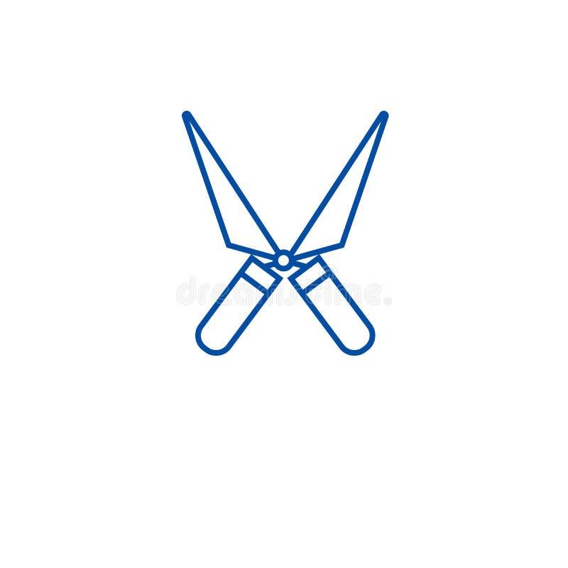 Ogrodowych strzyżeń ikony kreskowy pojęcie Ogrodowych strzyżeń płaski wektorowy symbol, znak, kontur ilustracja ilustracja wektor