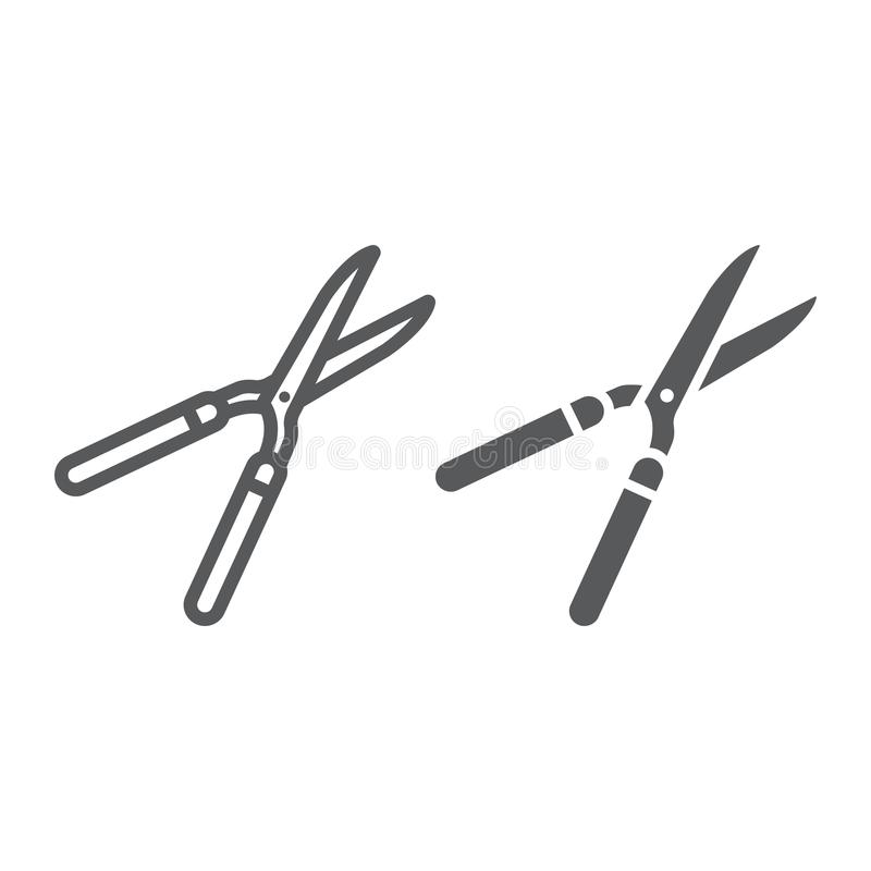 Ogrodowych strzyżeń linia i glif ikona, uprawia ziemię ilustracja wektor