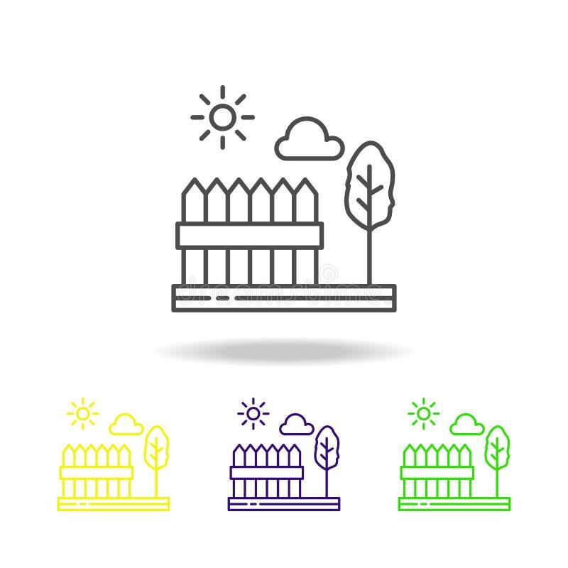 Ogrodzenia, drzewo, pogodny, chmurnieją barwioną ikonę Może używać dla sieci, logo, mobilny app, UI, UX ilustracji