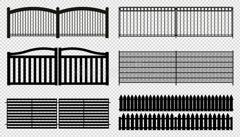 Ogrodzenie Kasetonuje Wektorowe ilustracje - Odizolowywać Na Przejrzystym tle - Różne sylwetki - ilustracji