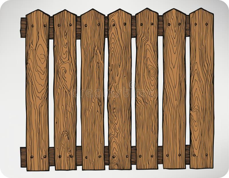 Ogrodzenie od drewnianych desek bezszwowych, rysunek Wektorowy illustra royalty ilustracja