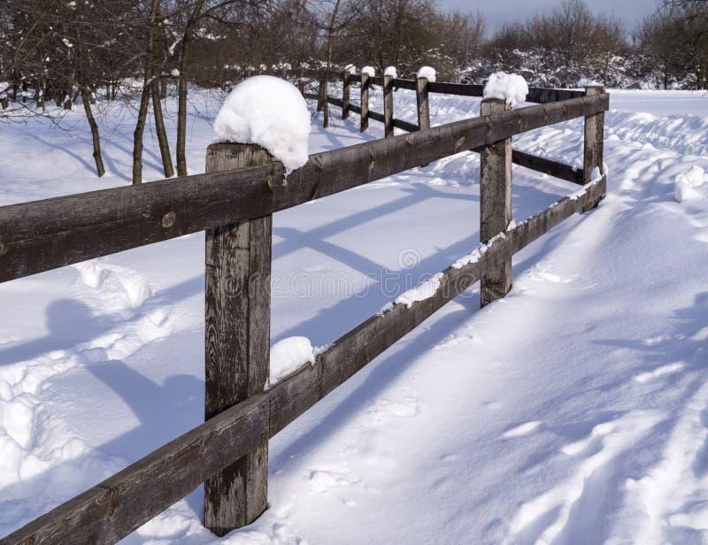 Ogrodzenie w zimie obraz royalty free