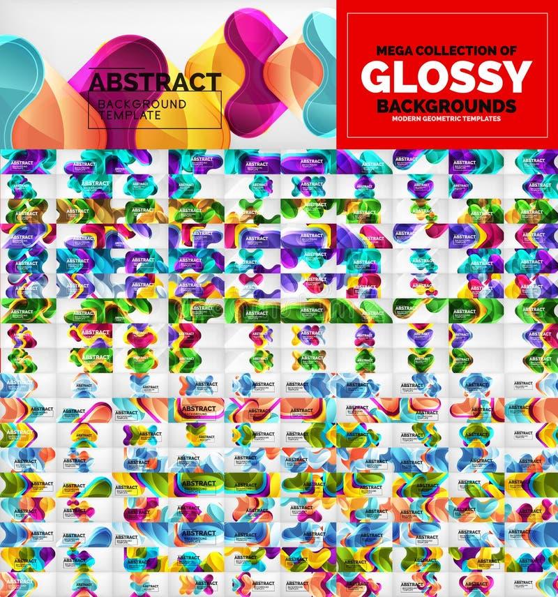 Ogromna mega kolekcja geometryczni abstrakcjonistyczni wektorowi tła z glansowanymi strzałkowatymi kształtami royalty ilustracja