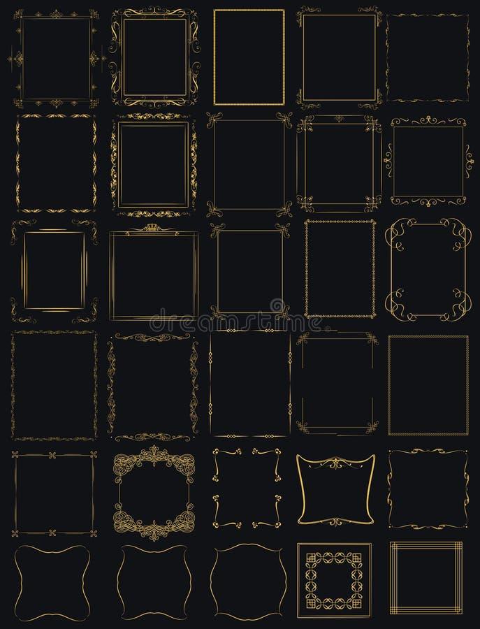 Ogromna mega kolekcja wektor ramy w roczniku nowożytnym royalty ilustracja