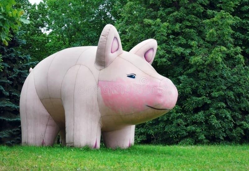 Ogromna nadmuchiwana różowa świniowata postać wśród zielonych krzaków obraz royalty free
