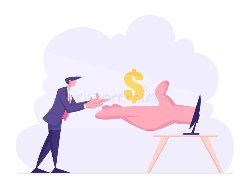 Ogromna ręka od komputeru osobistego monitoru rozciągliwości pieniądze Biznesowy mężczyzna Przychód w Internetowym pojęciu, Onlin royalty ilustracja