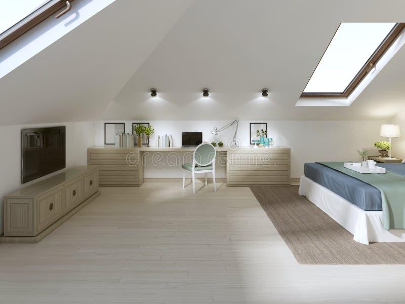 Ogromna sypialnia na loft w nowożytnym stylu ilustracji