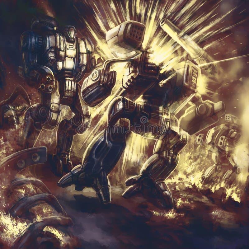 Ogromny bojowy robot wybucha royalty ilustracja
