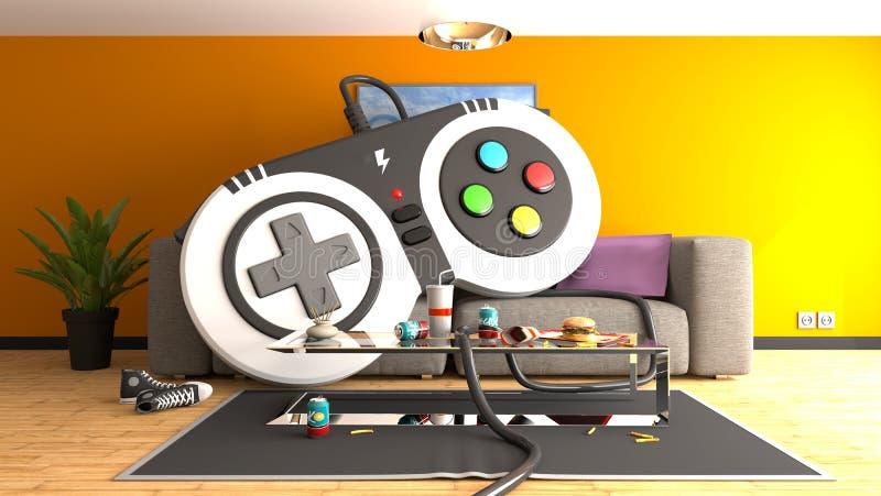 Ogromny gamepad kontroler na kanapie royalty ilustracja