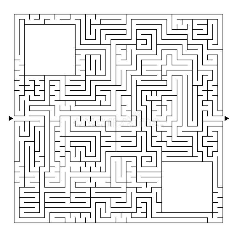 Ogromny kwadratowy labitynt z wejściem i wyjściem Prosta płaska wektorowa ilustracja odizolowywająca na białym tle Z miejscem f royalty ilustracja